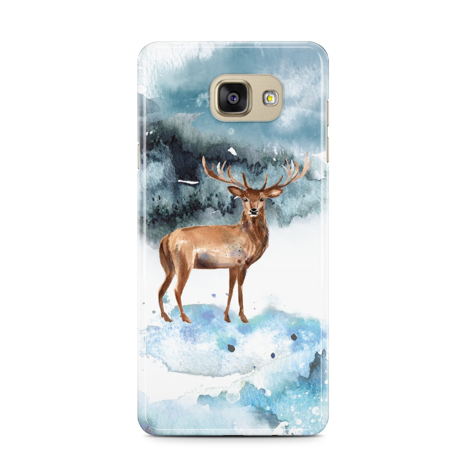 Christmas Winter Stag Samsung Galaxy A7 2016 Case on gold phone