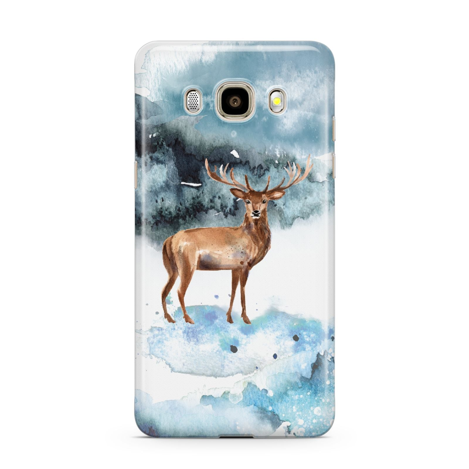 Christmas Winter Stag Samsung Galaxy J7 2016 Case on gold phone