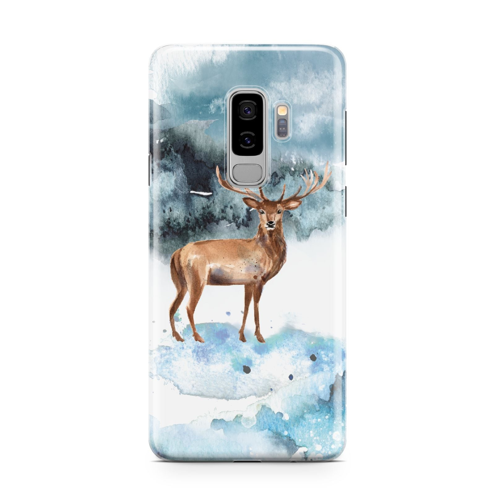 Christmas Winter Stag Samsung Galaxy S9 Plus Case on Silver phone