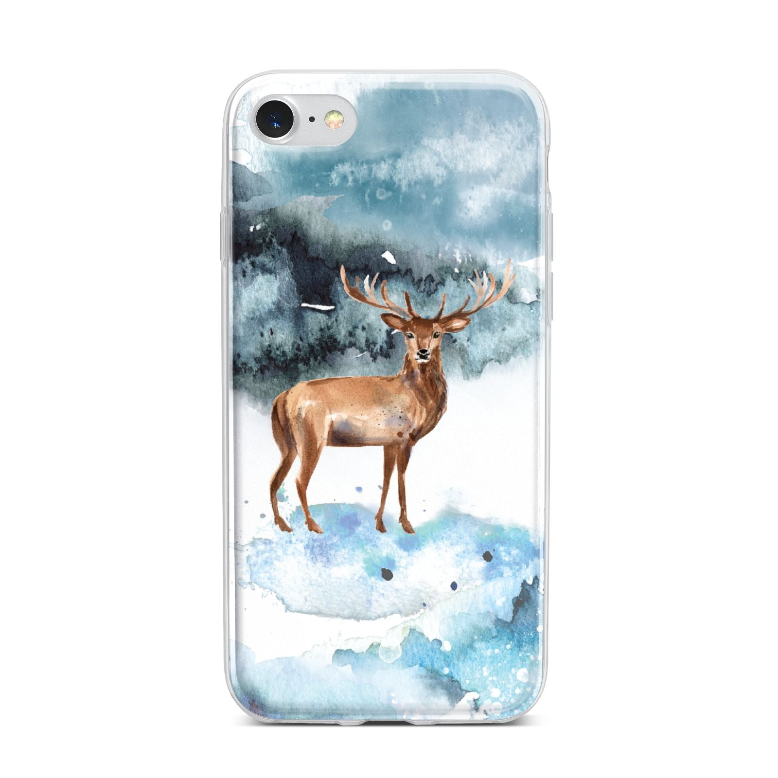 Christmas Winter Stag iPhone 7 Bumper Case on Silver iPhone