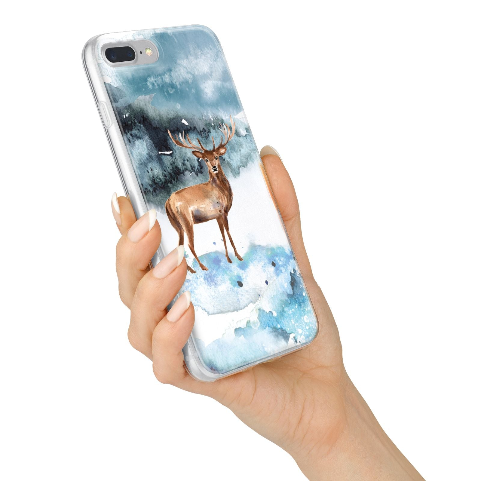 Christmas Winter Stag iPhone 7 Plus Bumper Case on Silver iPhone Alternative Image