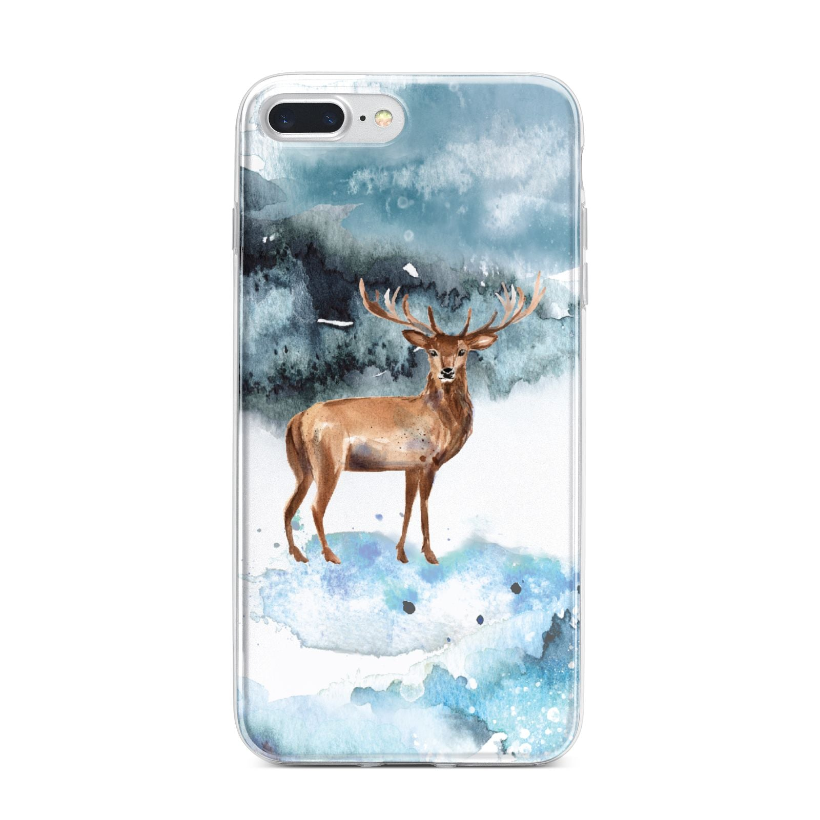 Christmas Winter Stag iPhone 7 Plus Bumper Case on Silver iPhone
