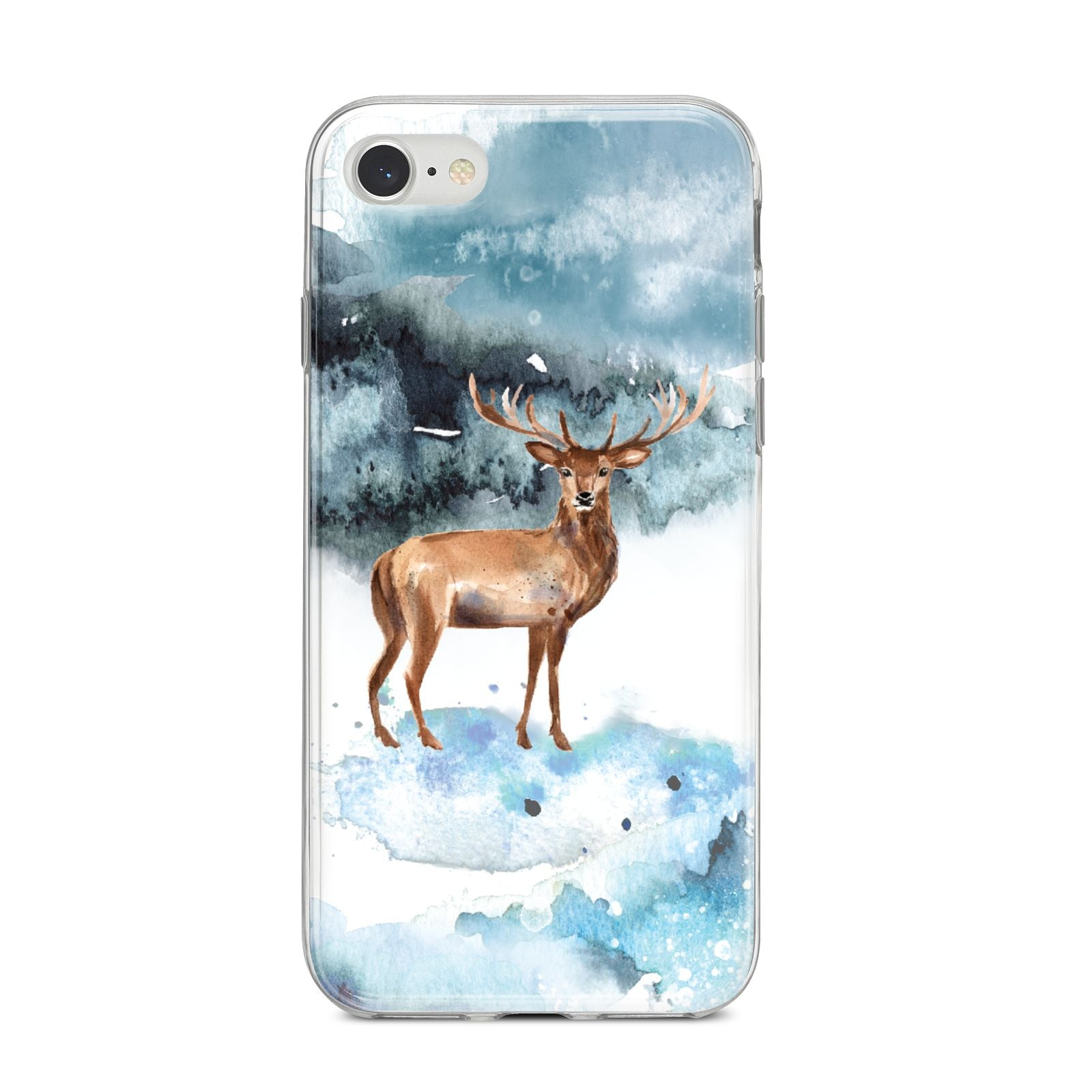 Christmas Winter Stag iPhone 8 Bumper Case on Silver iPhone