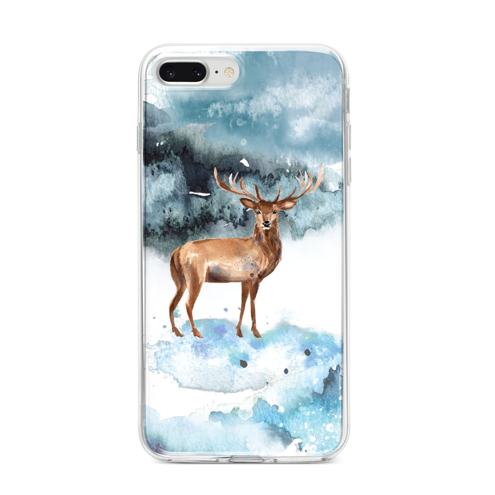 Christmas Winter Stag iPhone 8 Plus Bumper Case on Silver iPhone