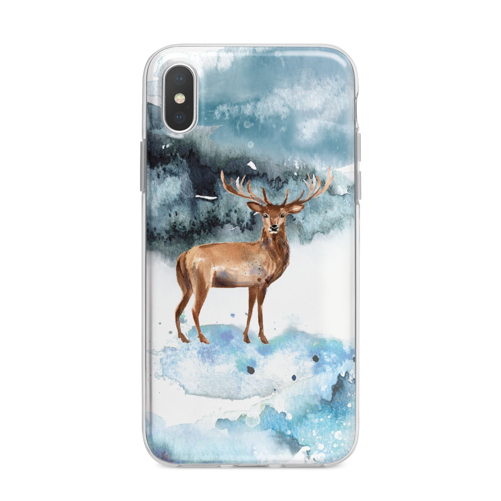 Christmas Winter Stag iPhone X Bumper Case on Silver iPhone Alternative Image 1