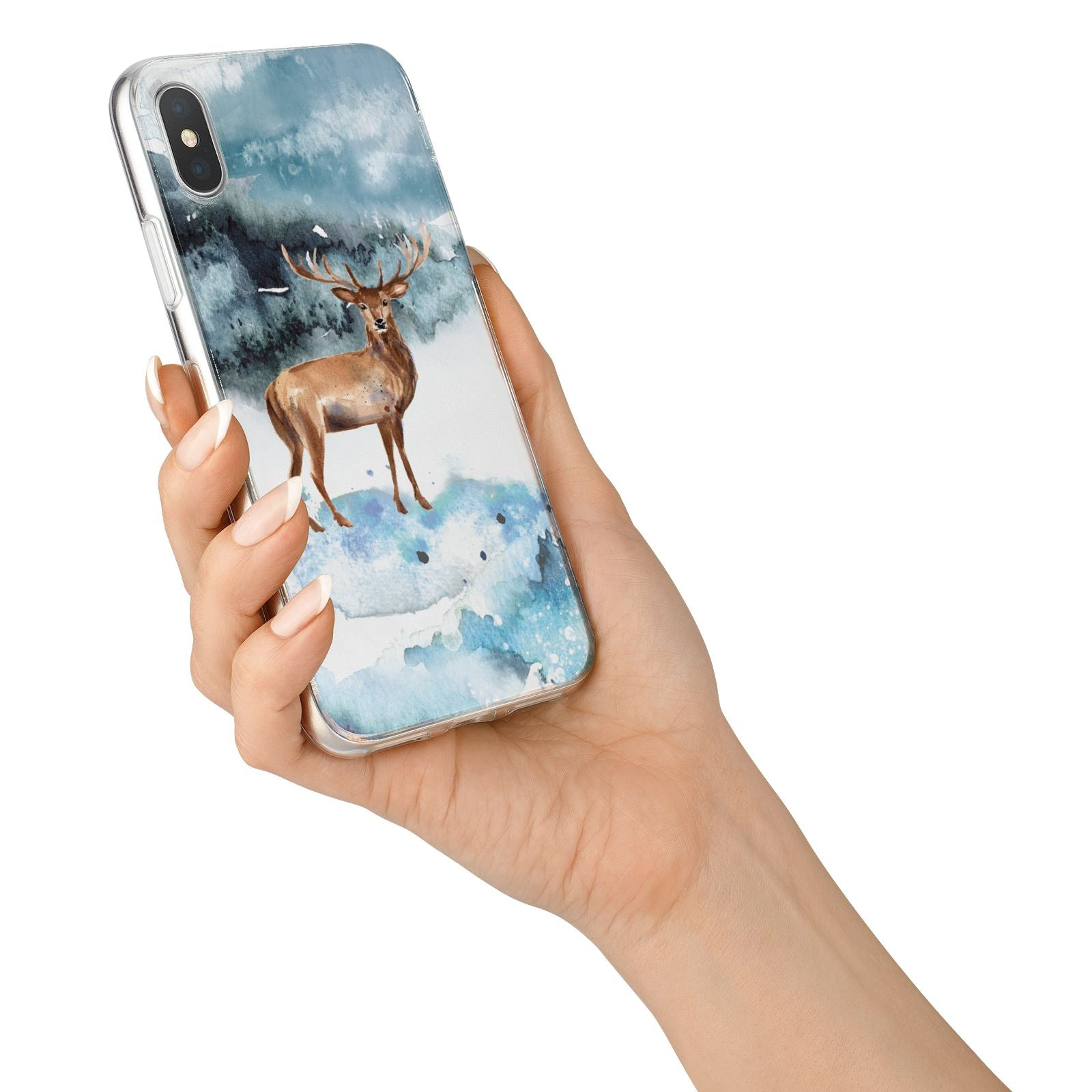 Christmas Winter Stag iPhone X Bumper Case on Silver iPhone Alternative Image 2