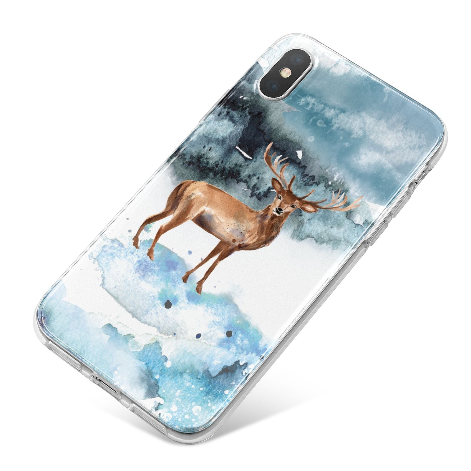 Christmas Winter Stag iPhone X Bumper Case on Silver iPhone