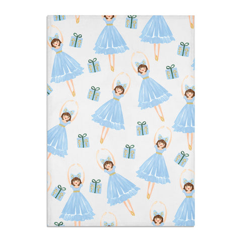 Christmas ballerina & present Tea Towel