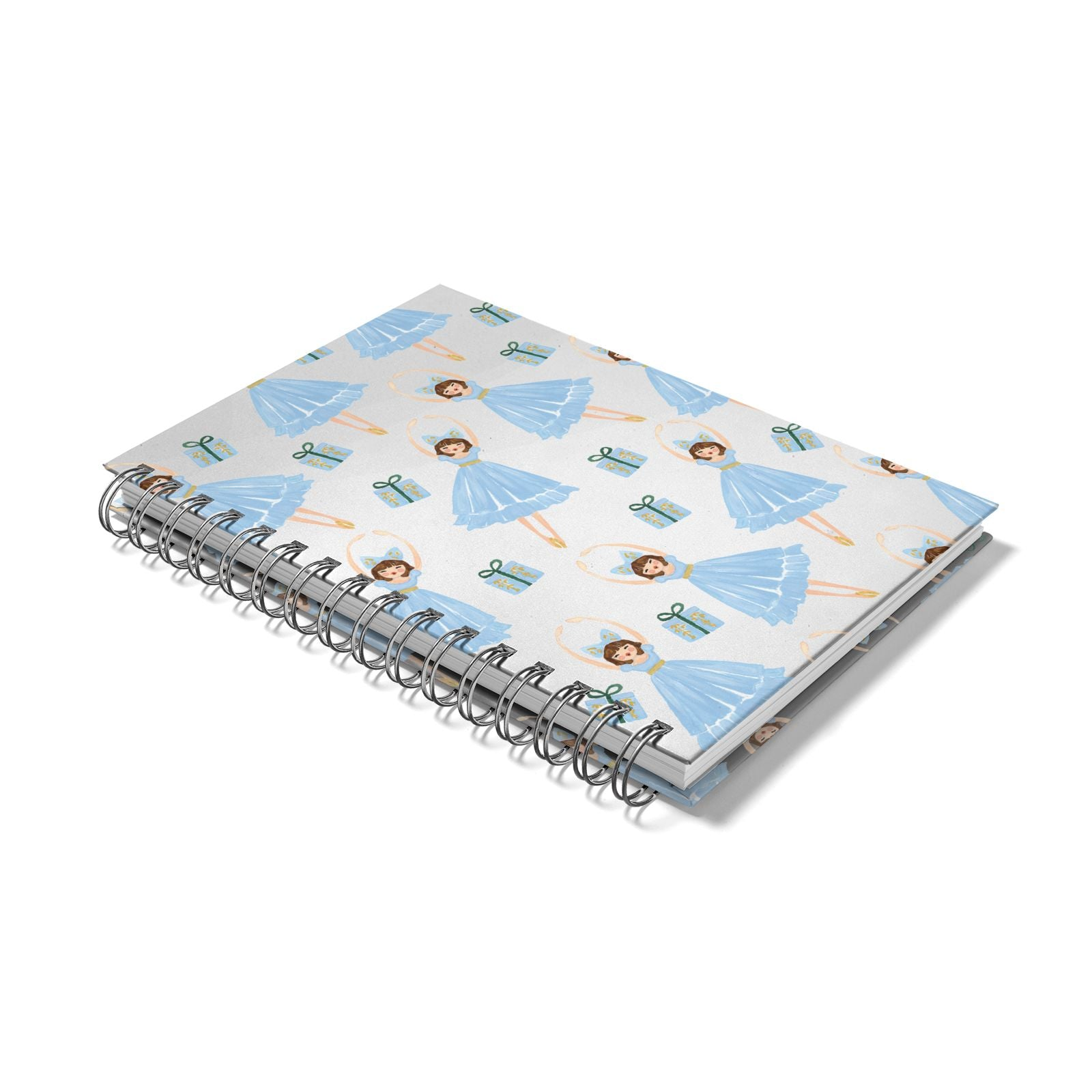 Christmas ballerina present Notebook with Silver Coil Laid Flat