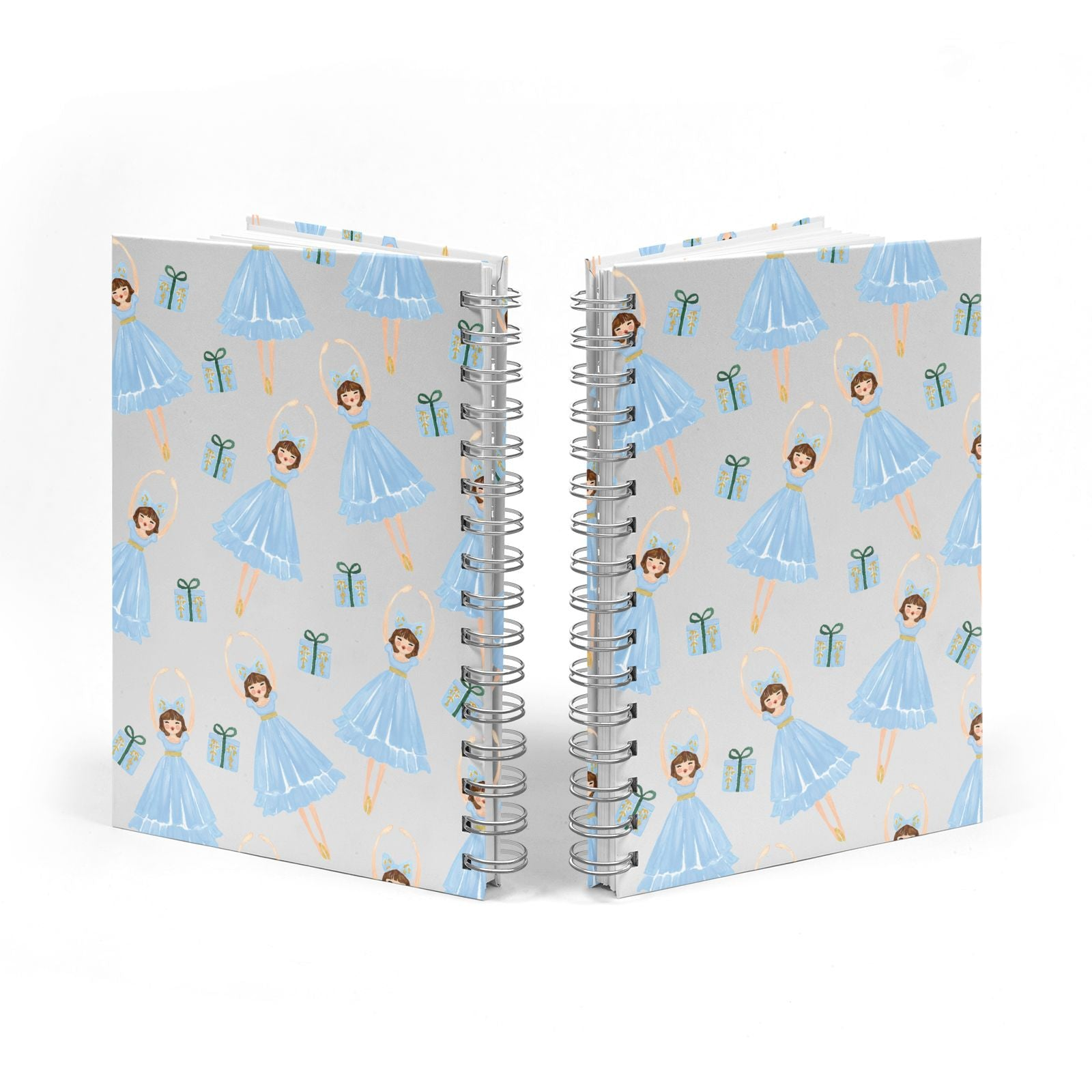 Christmas ballerina present Notebook with Silver Coil Spine View