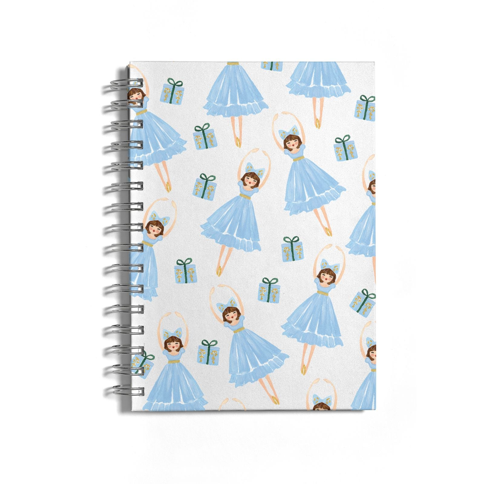 Christmas ballerina present Notebook with Silver Coil