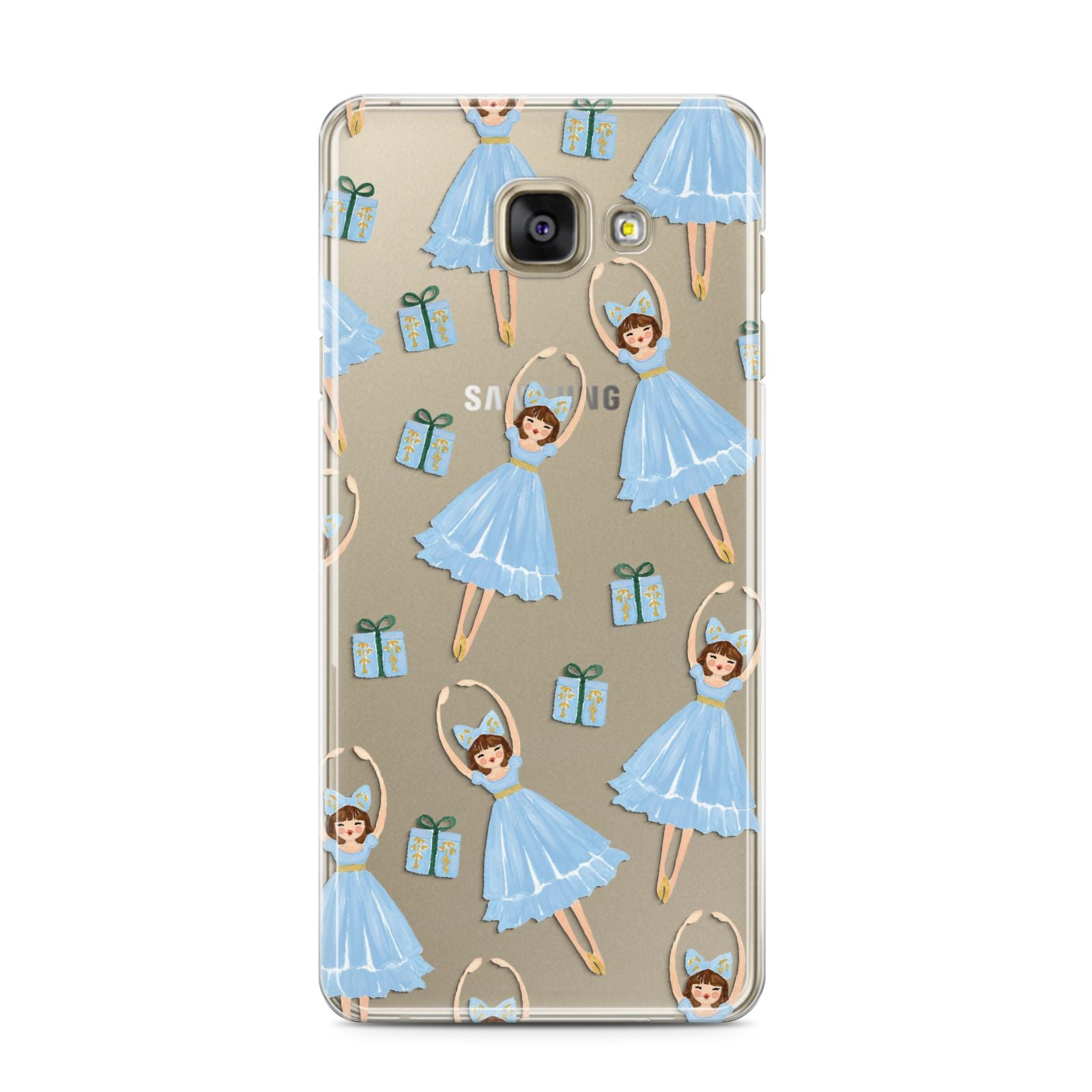 Christmas ballerina present Samsung Galaxy A3 2016 Case on gold phone