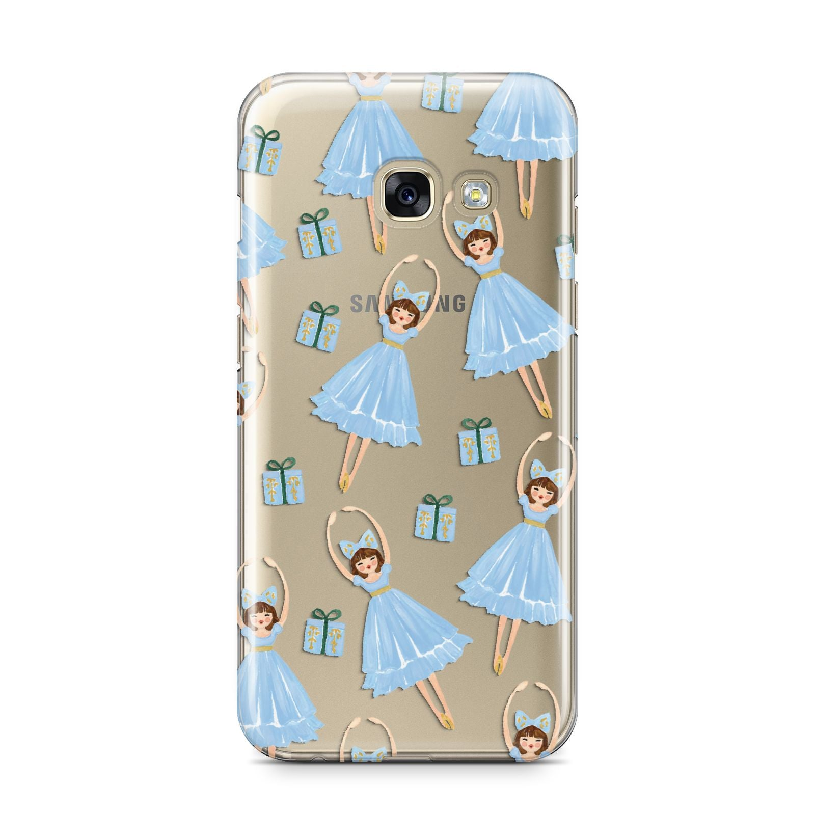 Christmas ballerina present Samsung Galaxy A3 2017 Case on gold phone