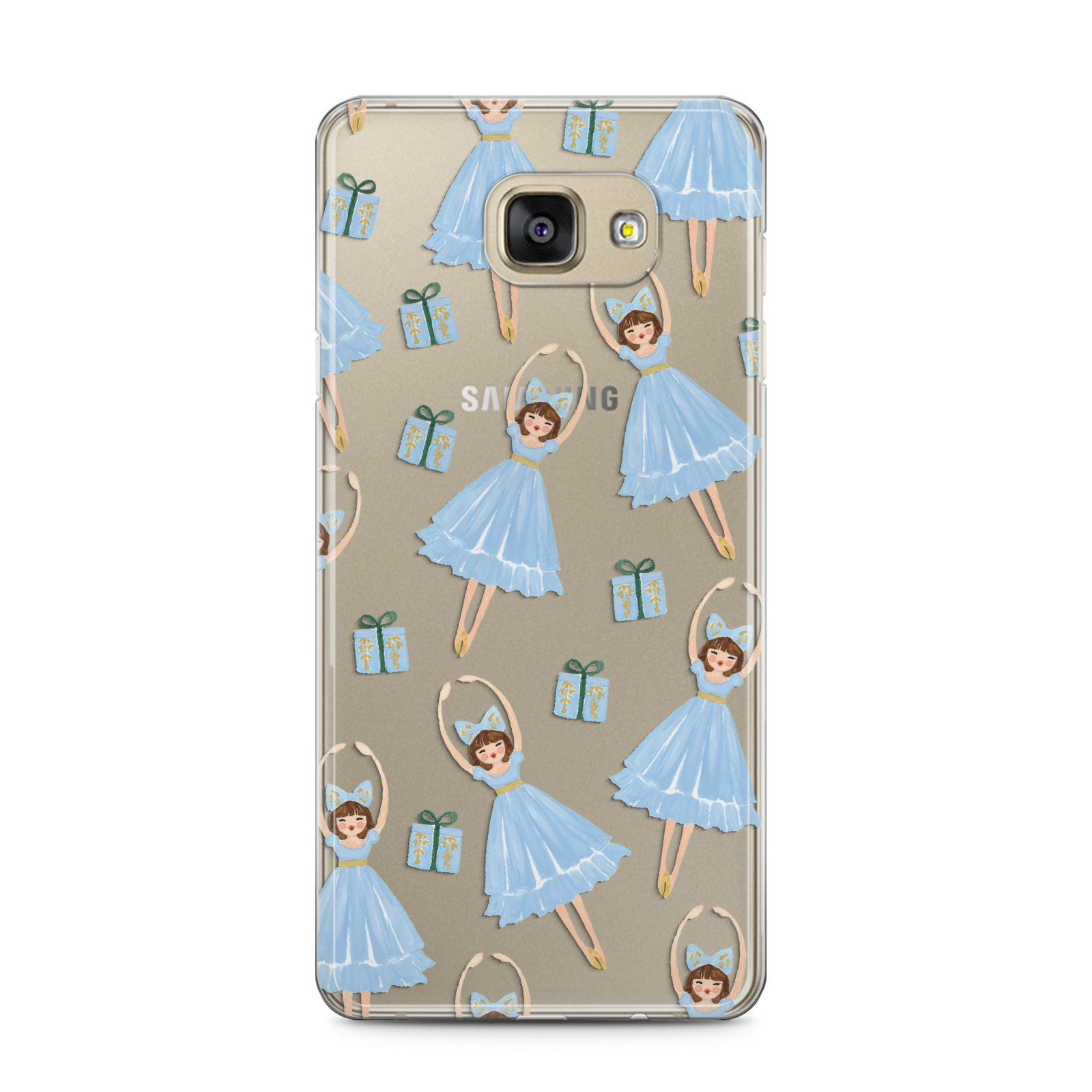 Christmas ballerina present Samsung Galaxy A5 2016 Case on gold phone