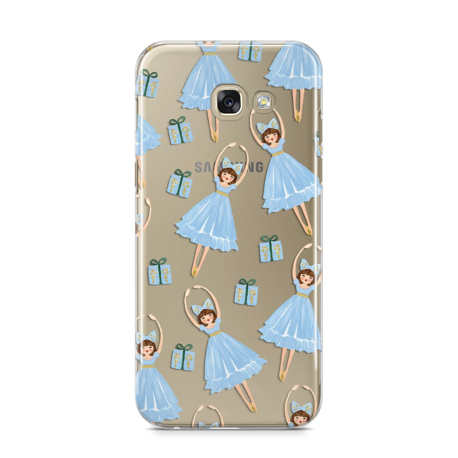 Christmas ballerina present Samsung Galaxy A5 2017 Case on gold phone