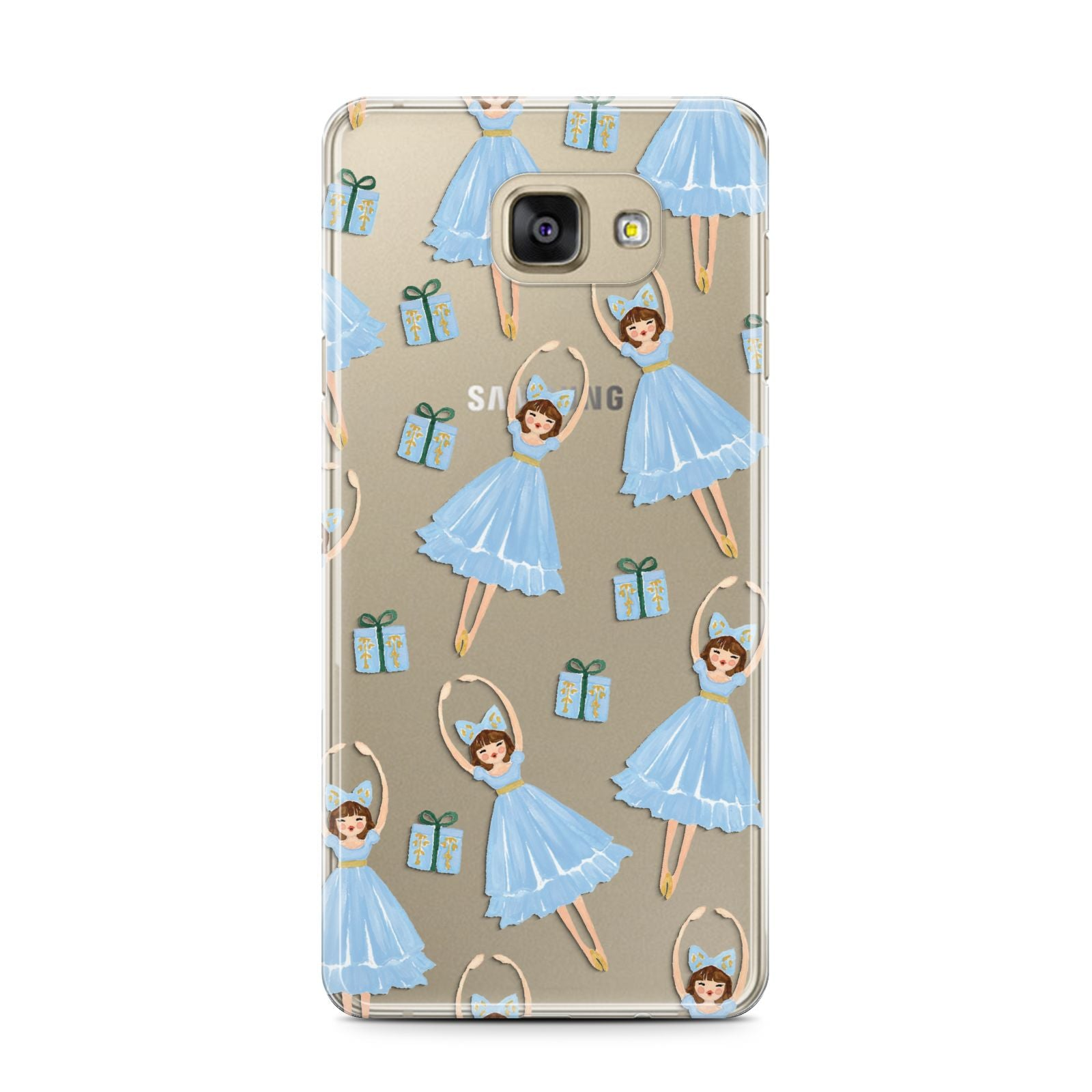 Christmas ballerina present Samsung Galaxy A7 2016 Case on gold phone