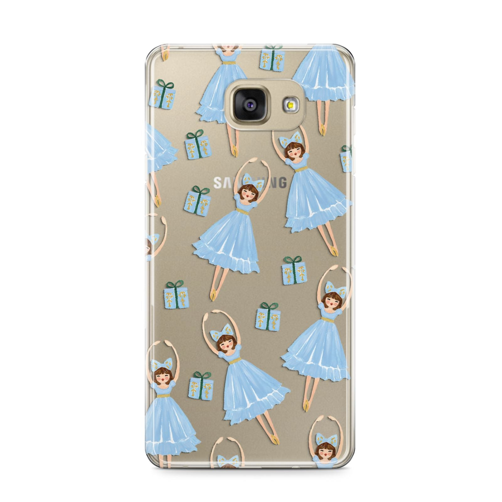 Christmas ballerina present Samsung Galaxy A9 2016 Case on gold phone
