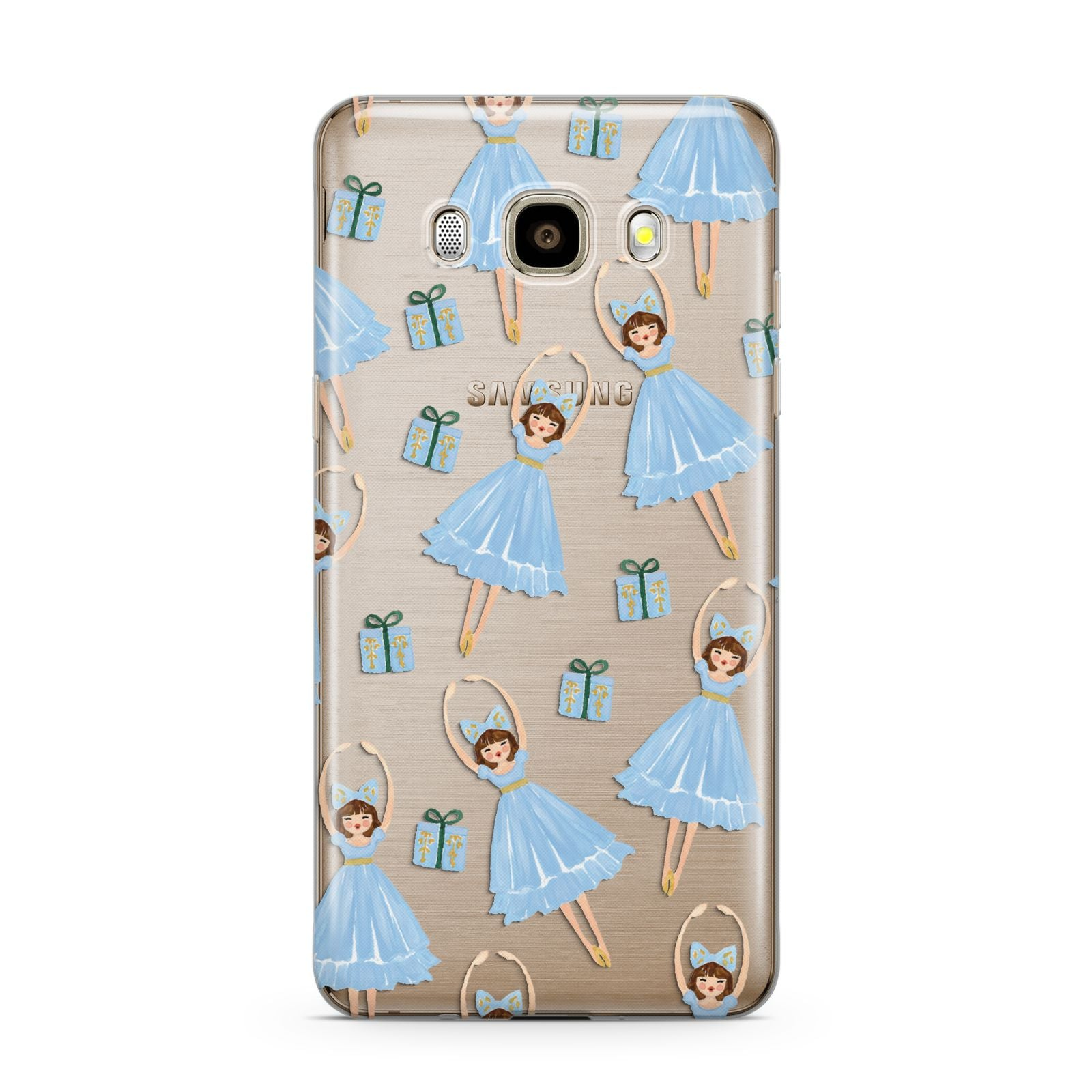 Christmas ballerina present Samsung Galaxy J7 2016 Case on gold phone