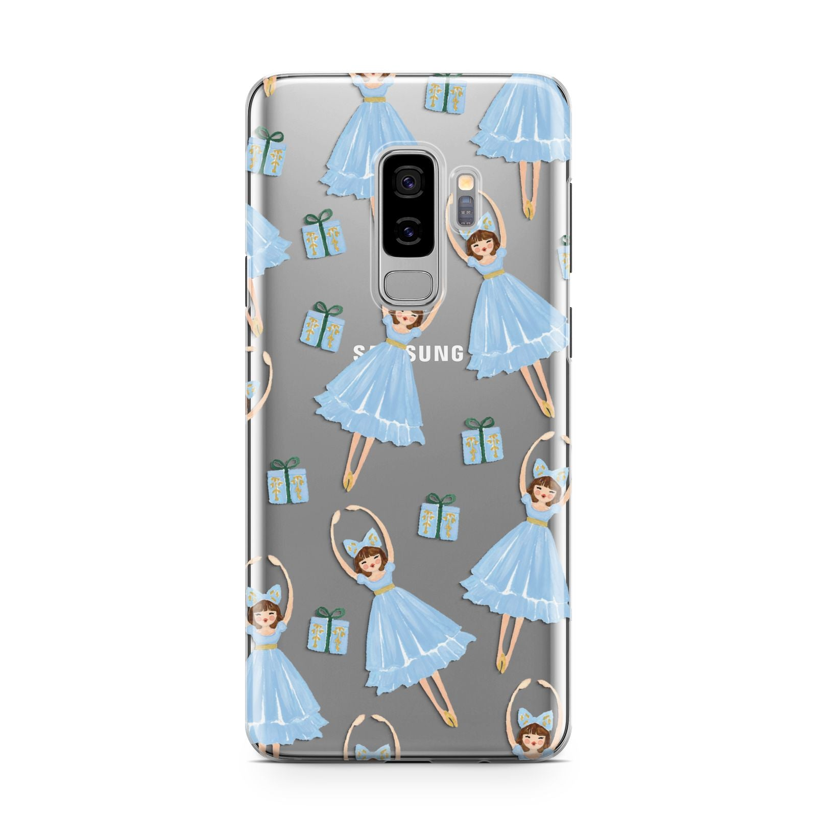 Christmas ballerina present Samsung Galaxy S9 Plus Case on Silver phone