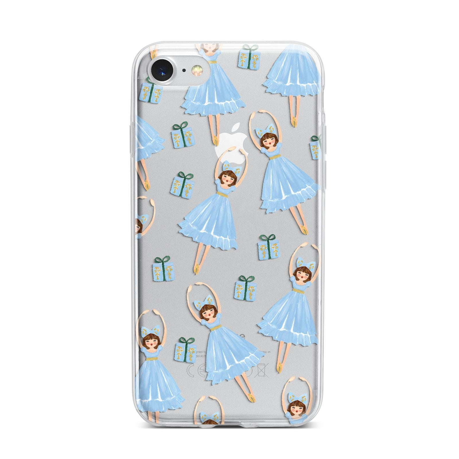 Christmas ballerina present iPhone 7 Bumper Case on Silver iPhone