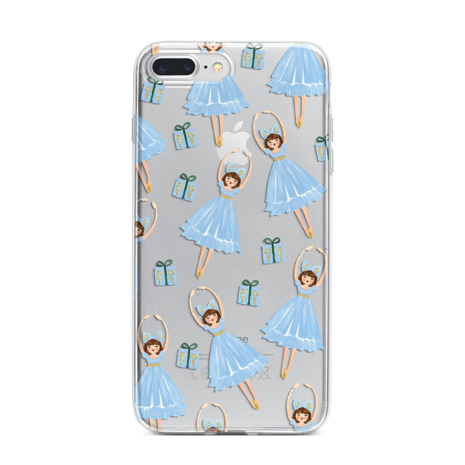Christmas ballerina present iPhone 7 Plus Bumper Case on Silver iPhone