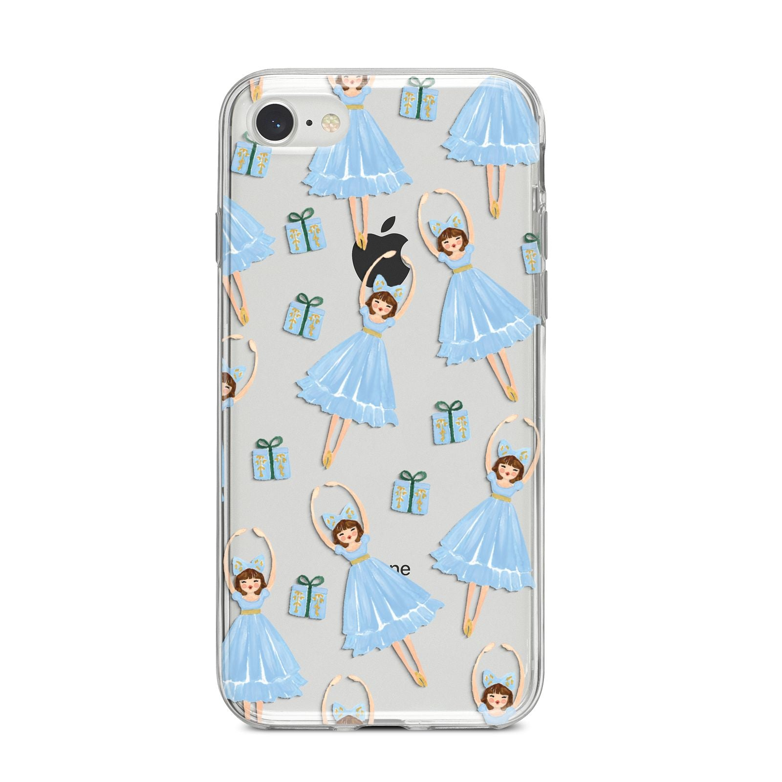 Christmas ballerina present iPhone 8 Bumper Case on Silver iPhone
