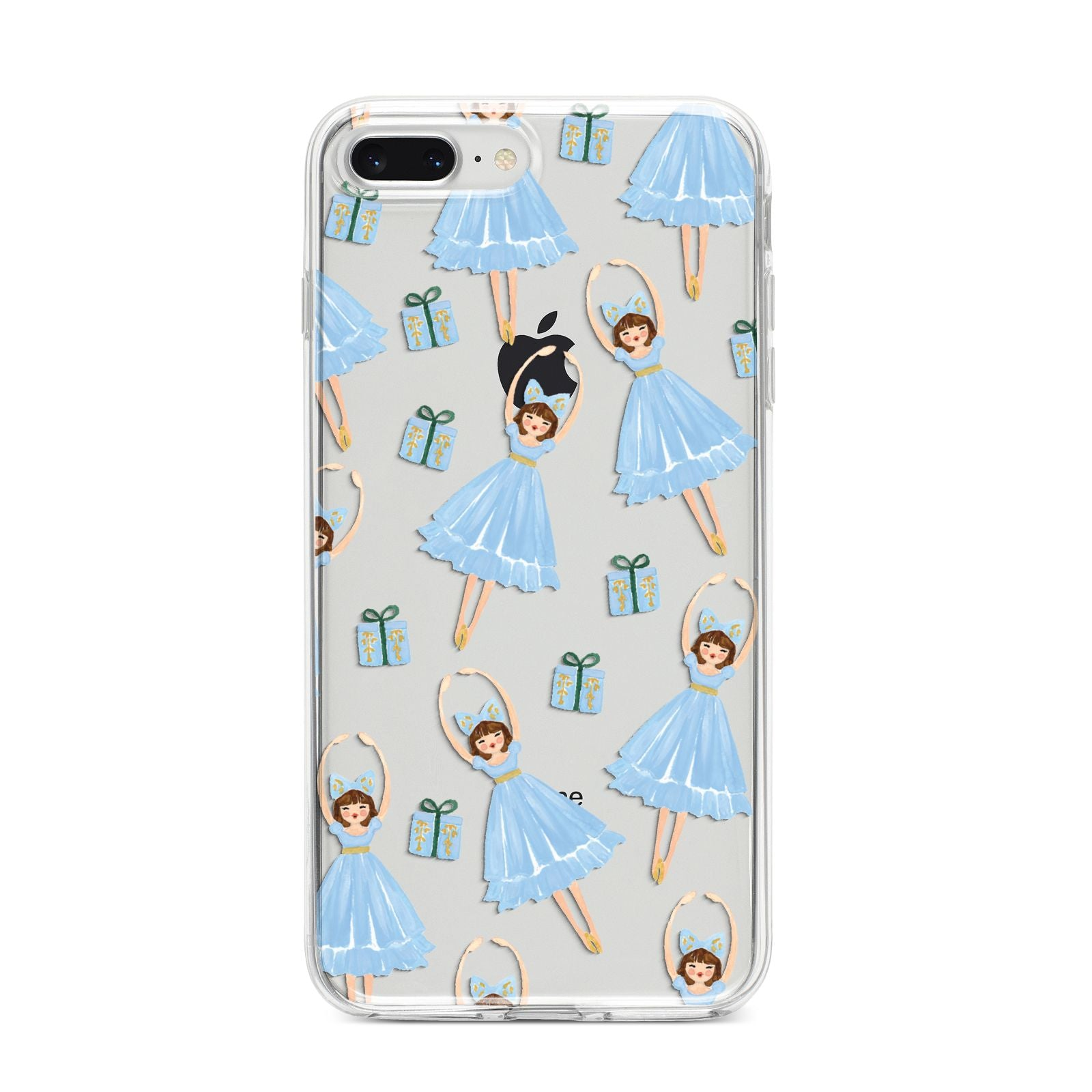 Christmas ballerina present iPhone 8 Plus Bumper Case on Silver iPhone