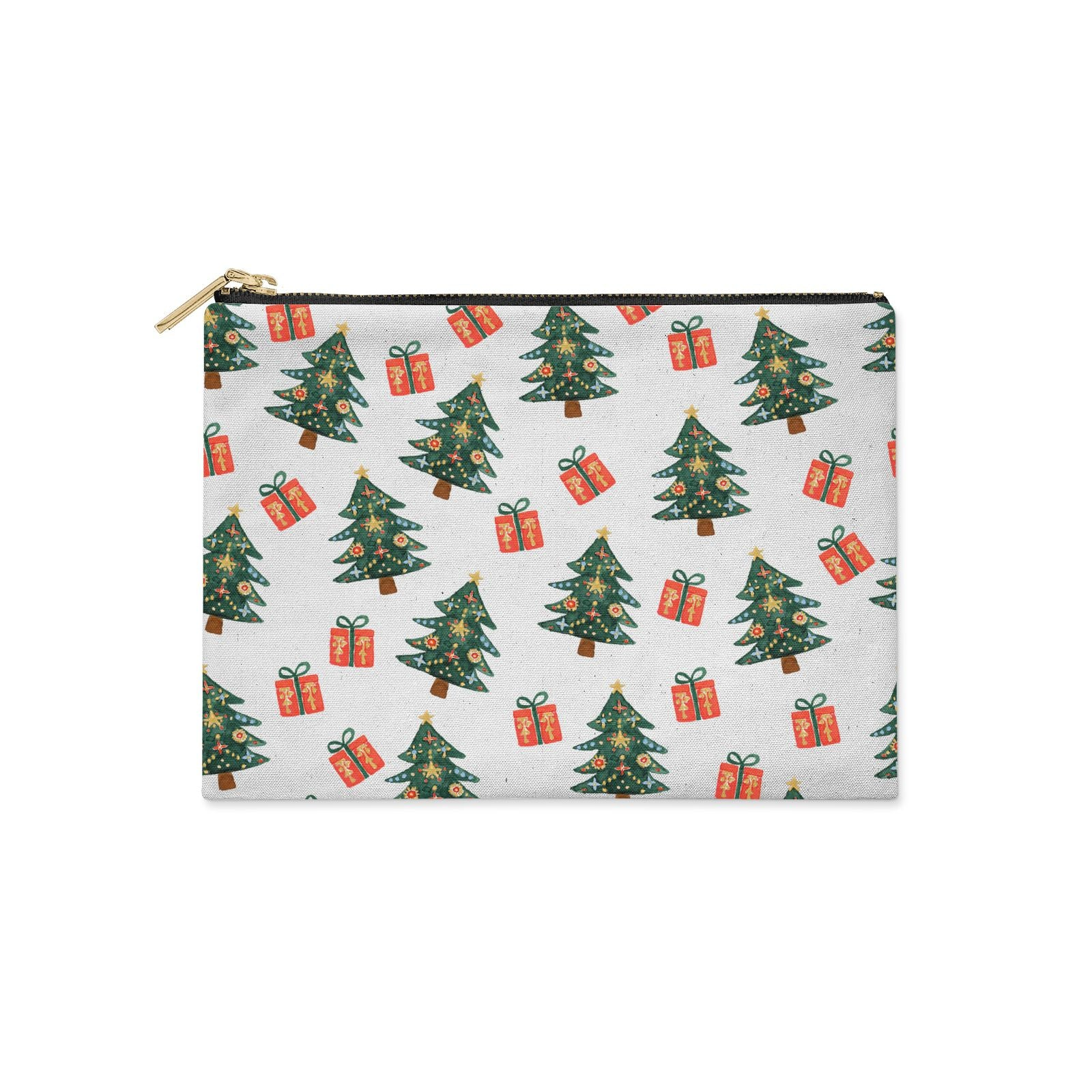 Christmas tree and presents Clutch Bag Zipper Pouch