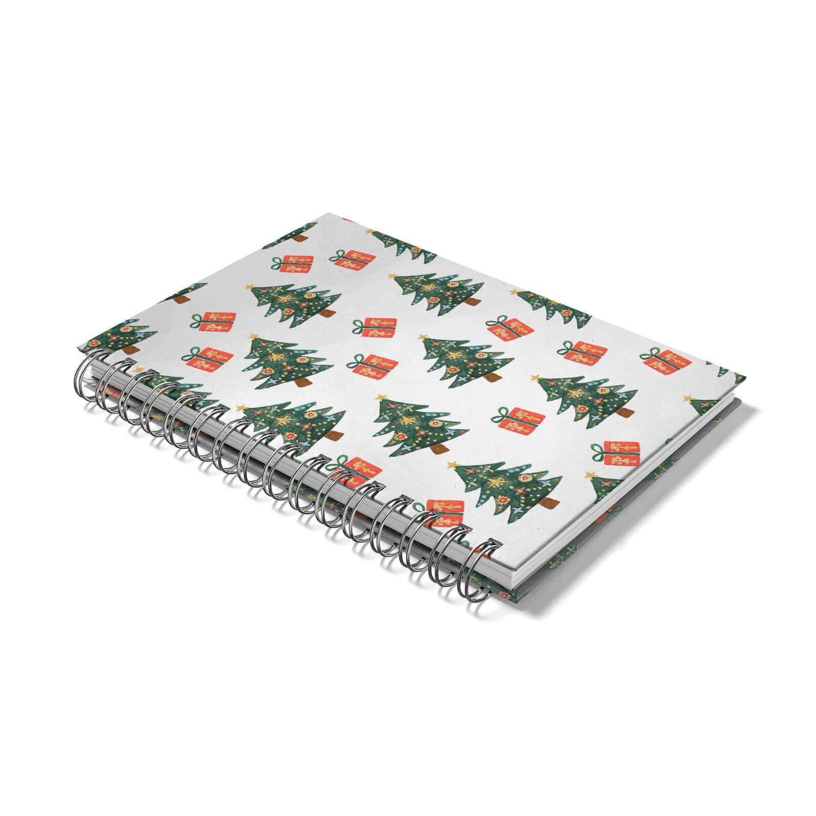 Christmas tree and presents Notebook with Silver Coil Laid Flat
