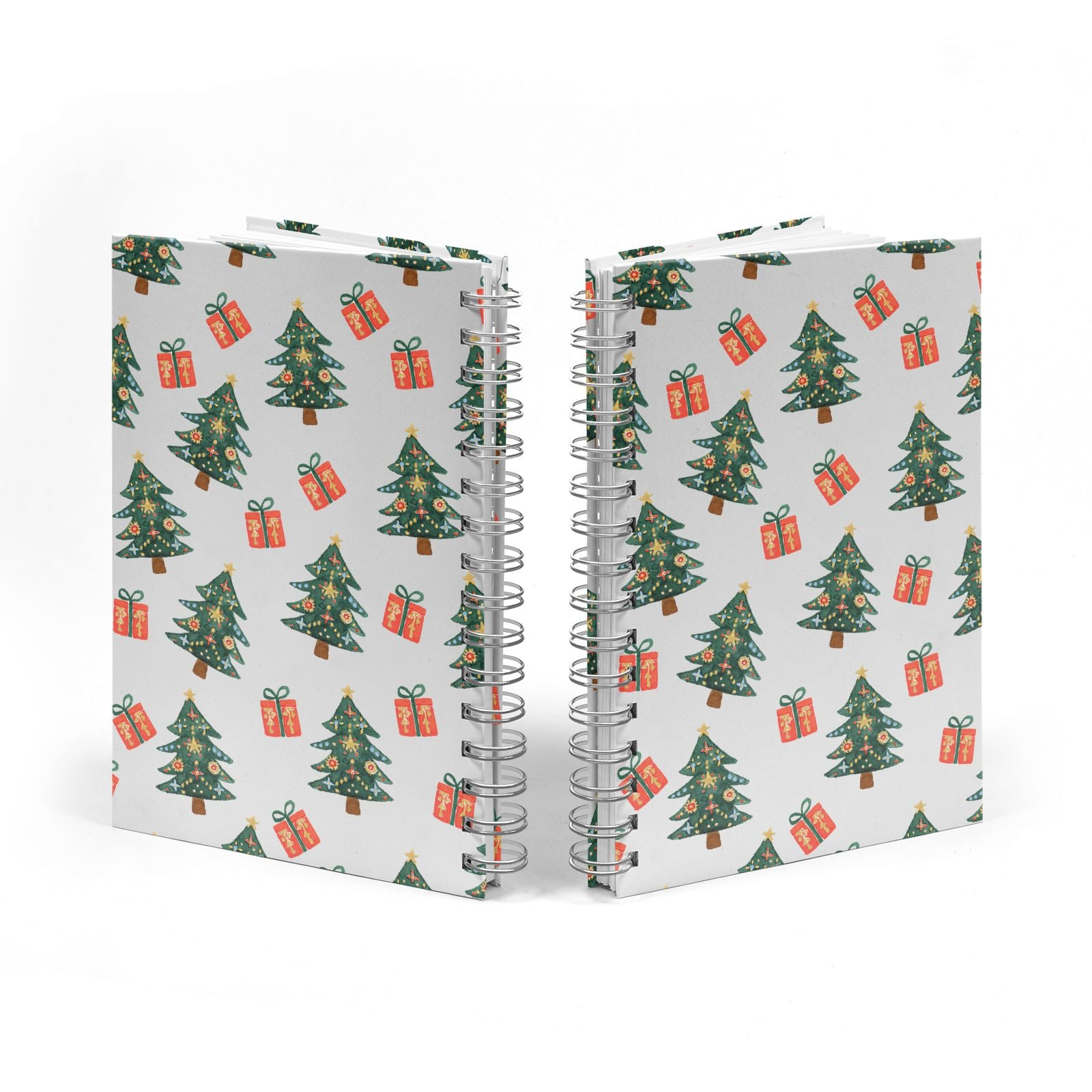 Christmas tree and presents Notebook with Silver Coil Spine View