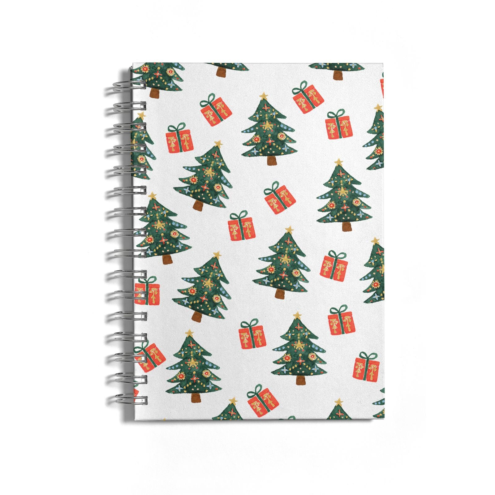 Christmas tree and presents Notebook with Silver Coil