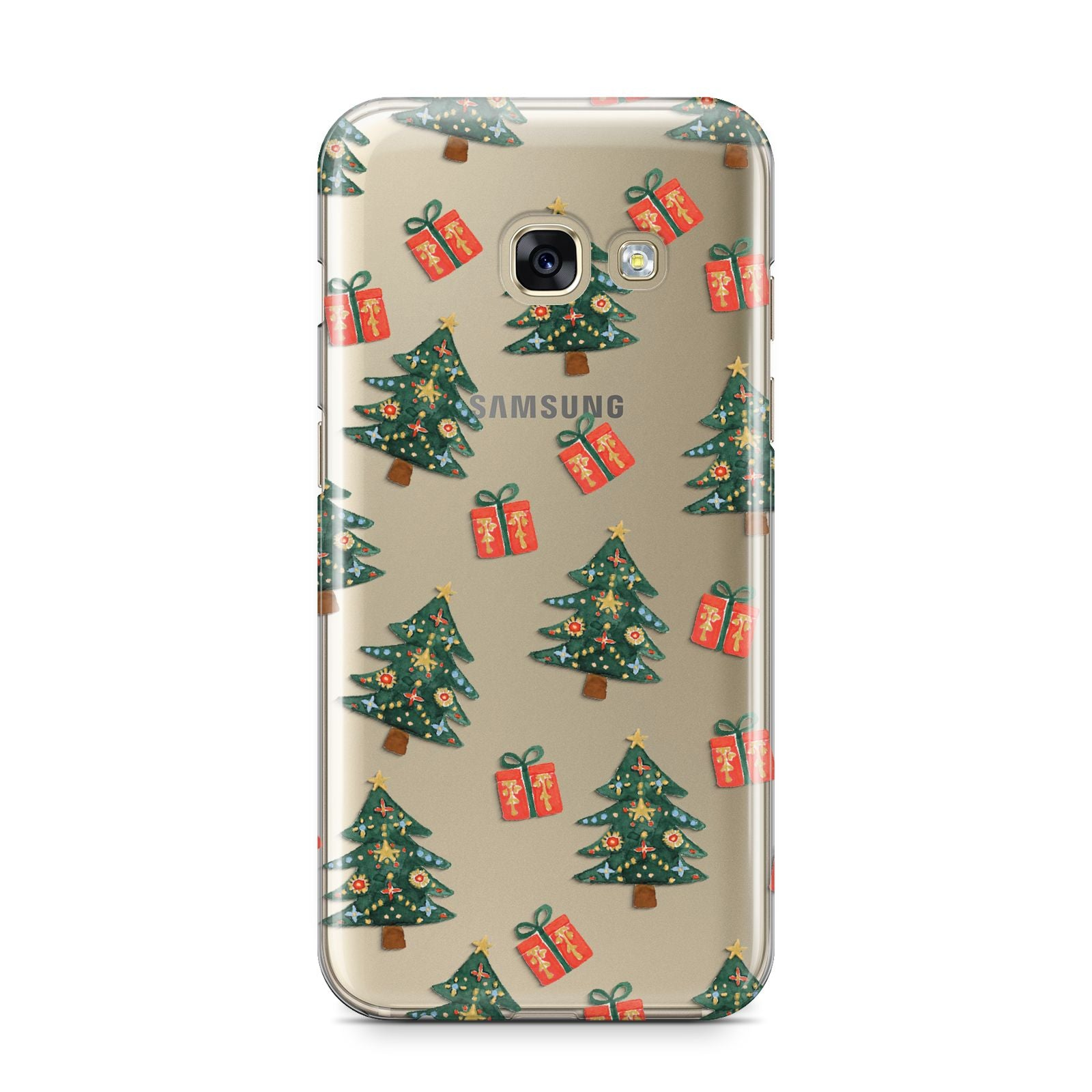 Christmas tree and presents Samsung Galaxy A3 2017 Case on gold phone