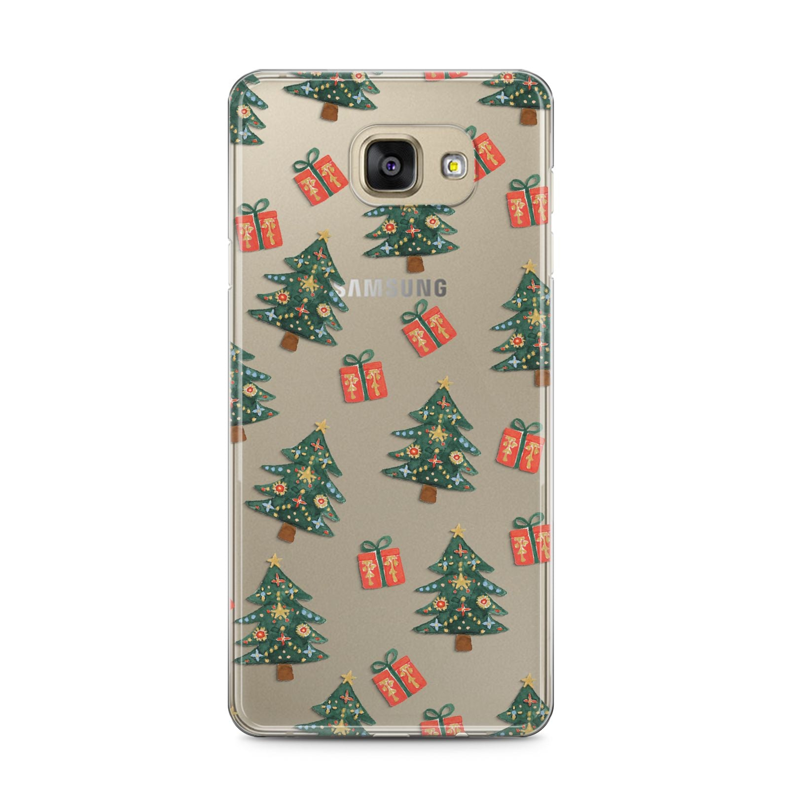 Christmas tree and presents Samsung Galaxy A5 2016 Case on gold phone