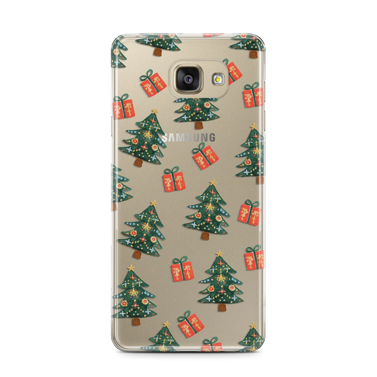 Christmas tree and presents Samsung Galaxy A7 2016 Case on gold phone