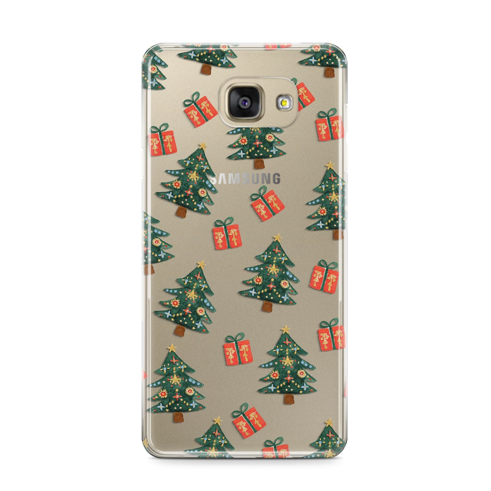 Christmas tree and presents Samsung Galaxy A9 2016 Case on gold phone