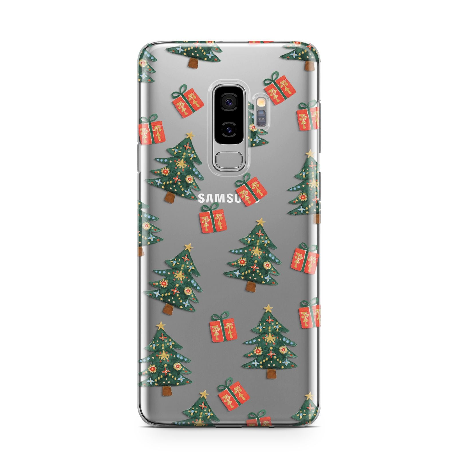 Christmas tree and presents Samsung Galaxy S9 Plus Case on Silver phone