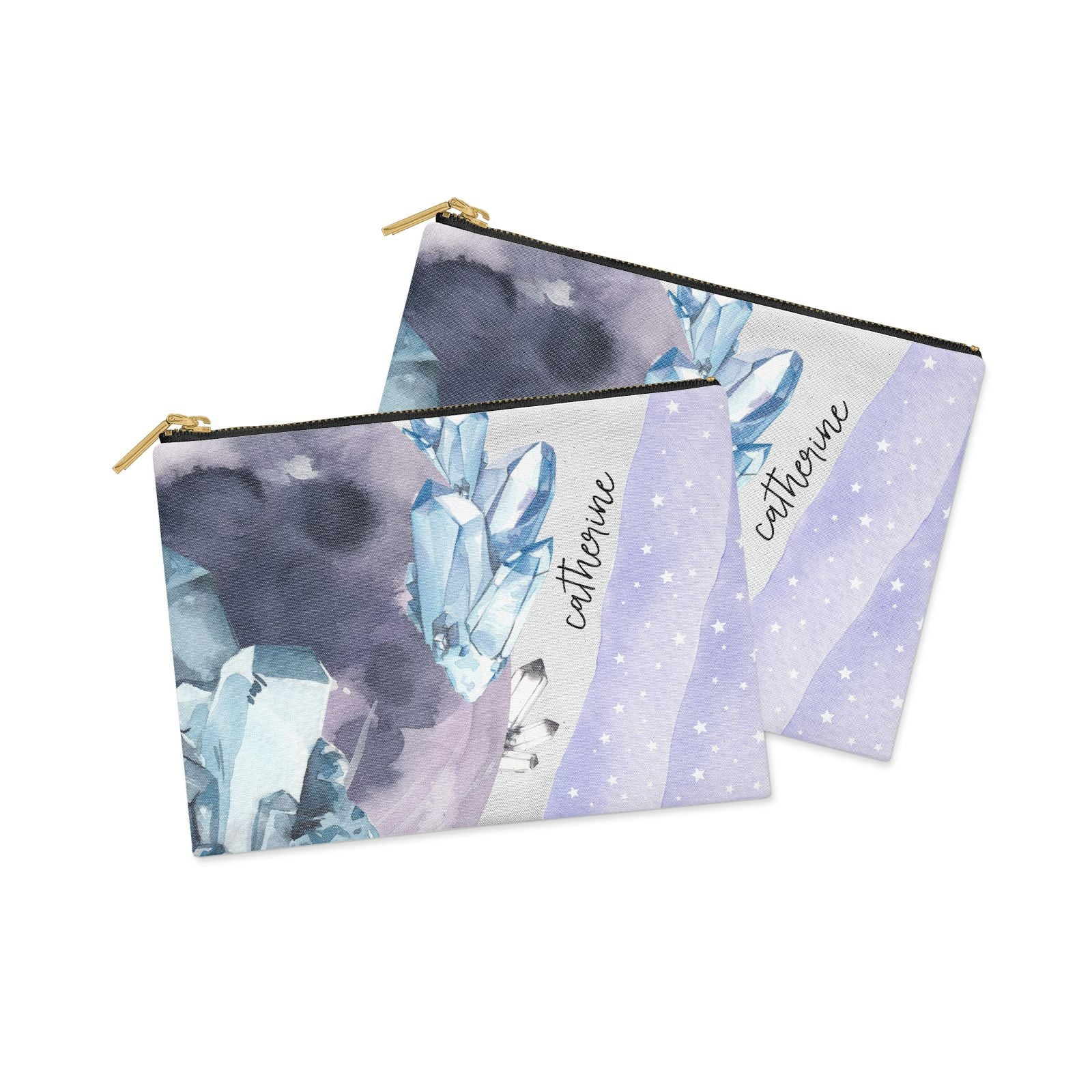 Crystals Personalised Name Clutch Bag Zipper Pouch Alternative View