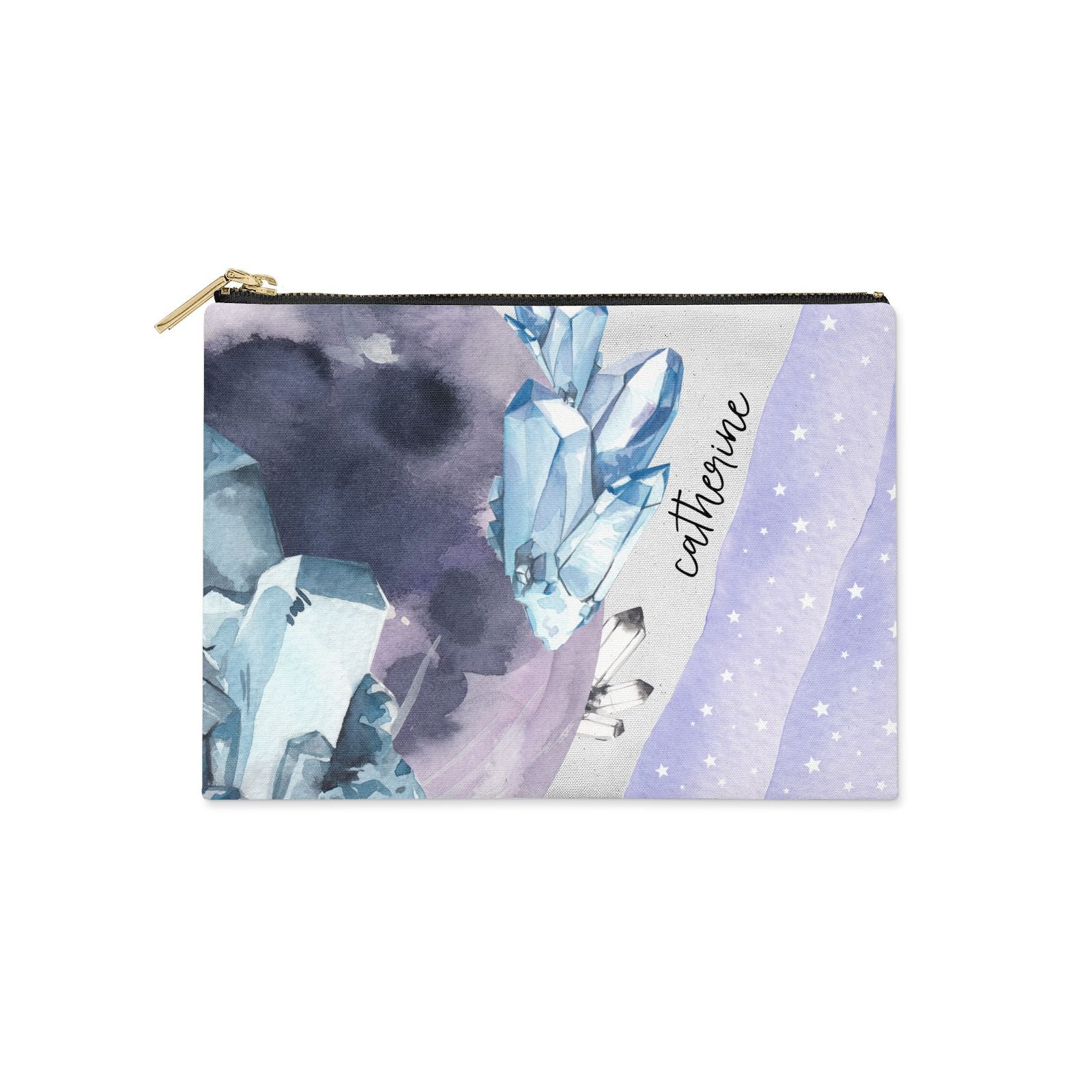Crystals Personalised Name Clutch Bag Zipper Pouch