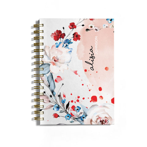 Custom Name Floral Bouquet Notebook