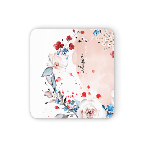 Custom Name Floral Bouquet Coasters set of 4