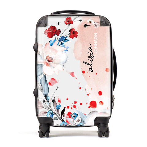 Custom Name Floral Bouquet Suitcase