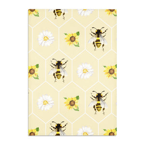 Daisies Bees and Sunflowers Cotton Tea Towel