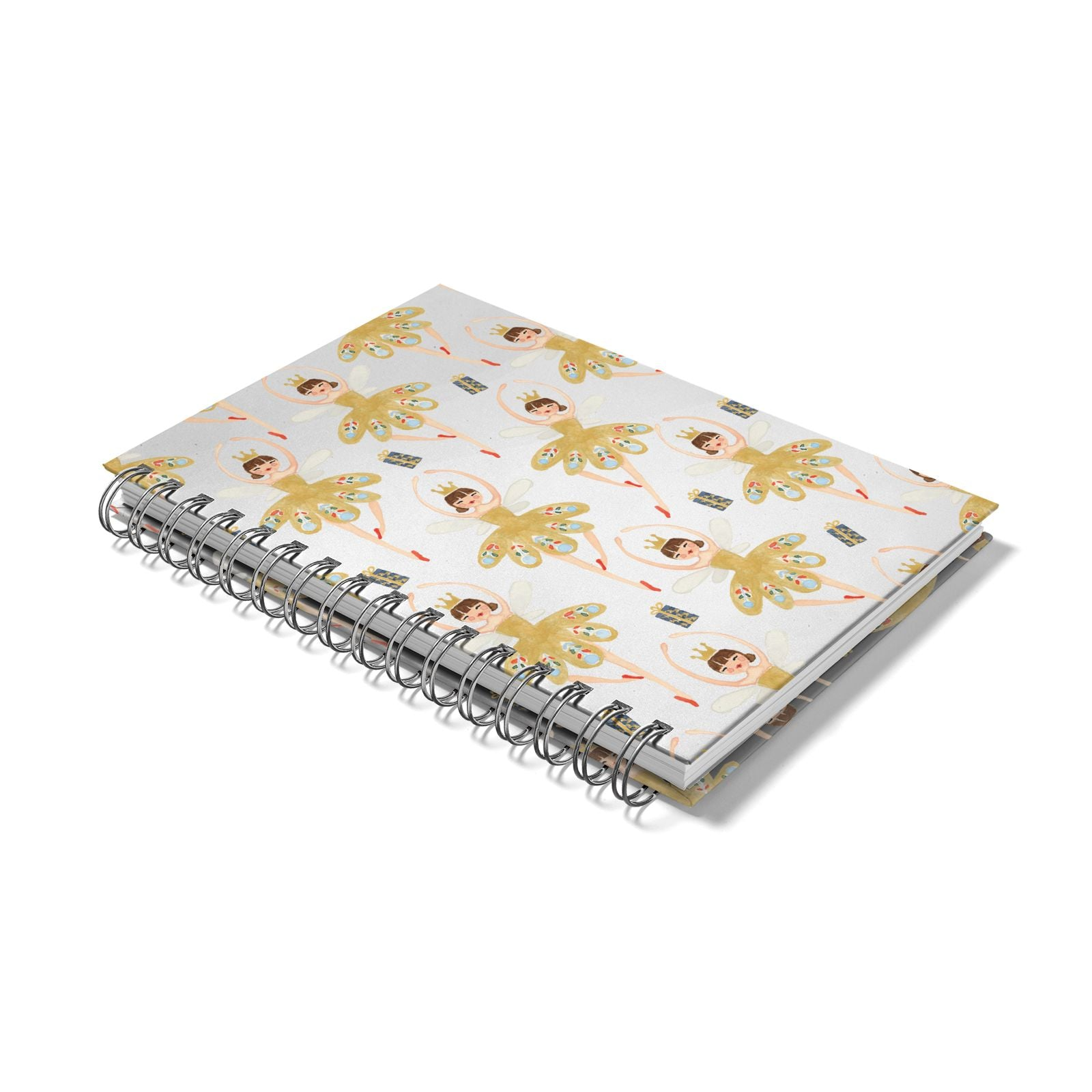Dancing ballerina princess Notebook with Silver Coil Laid Flat