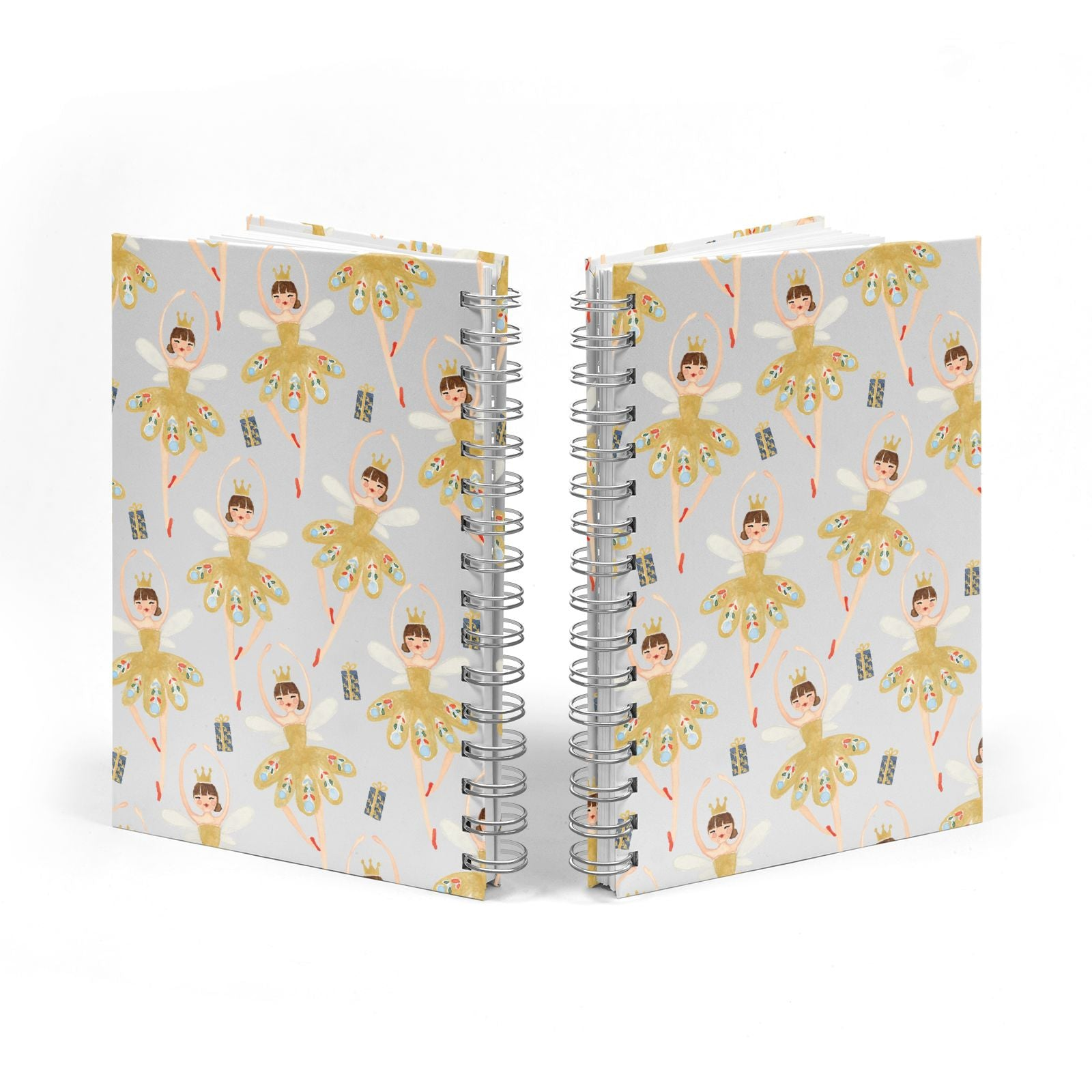 Dancing ballerina princess Notebook with Silver Coil Spine View