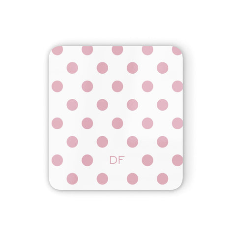 Dots Initials Personalised Coasters set of 4