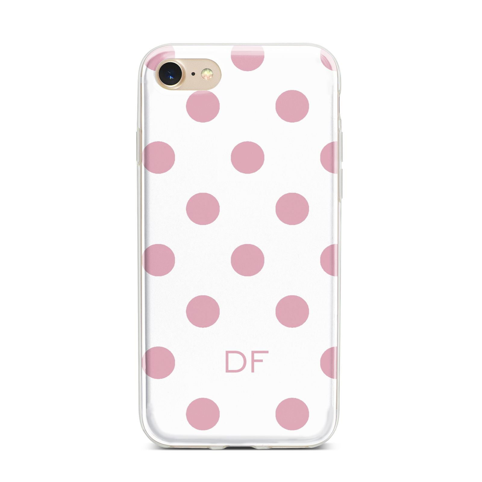 Dots Initials Personalised iPhone 7 Bumper Case on Gold iPhone