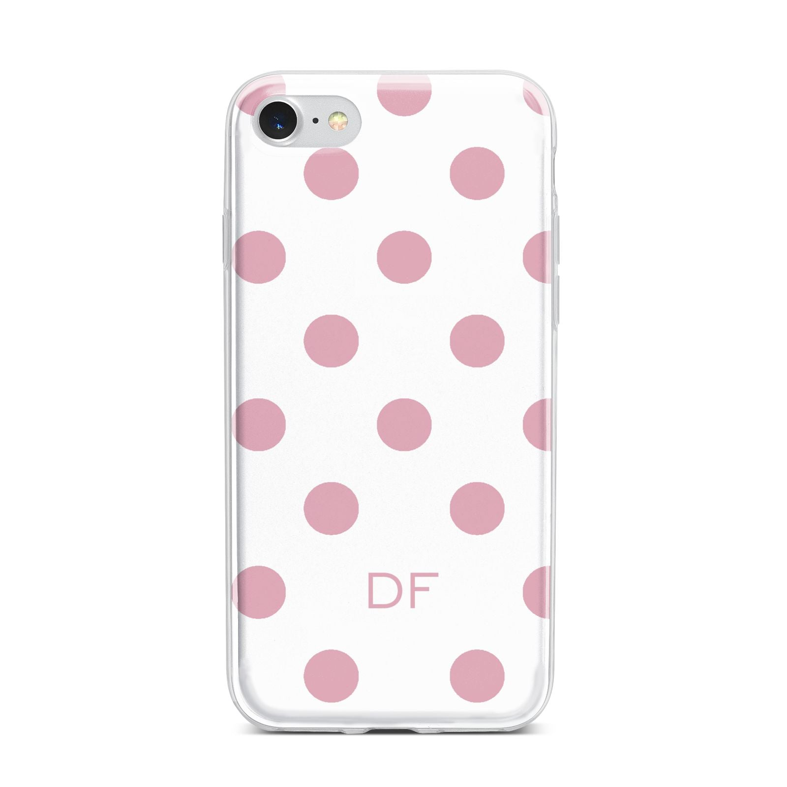 Dots Initials Personalised iPhone 7 Bumper Case on Silver iPhone