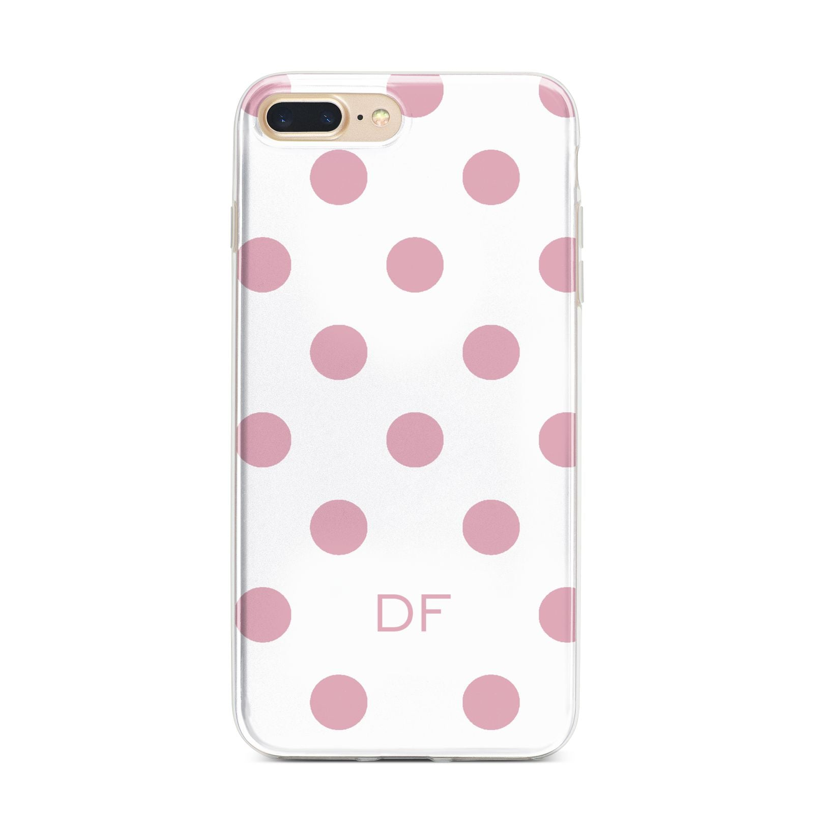 Dots Initials Personalised iPhone 7 Plus Bumper Case on Gold iPhone