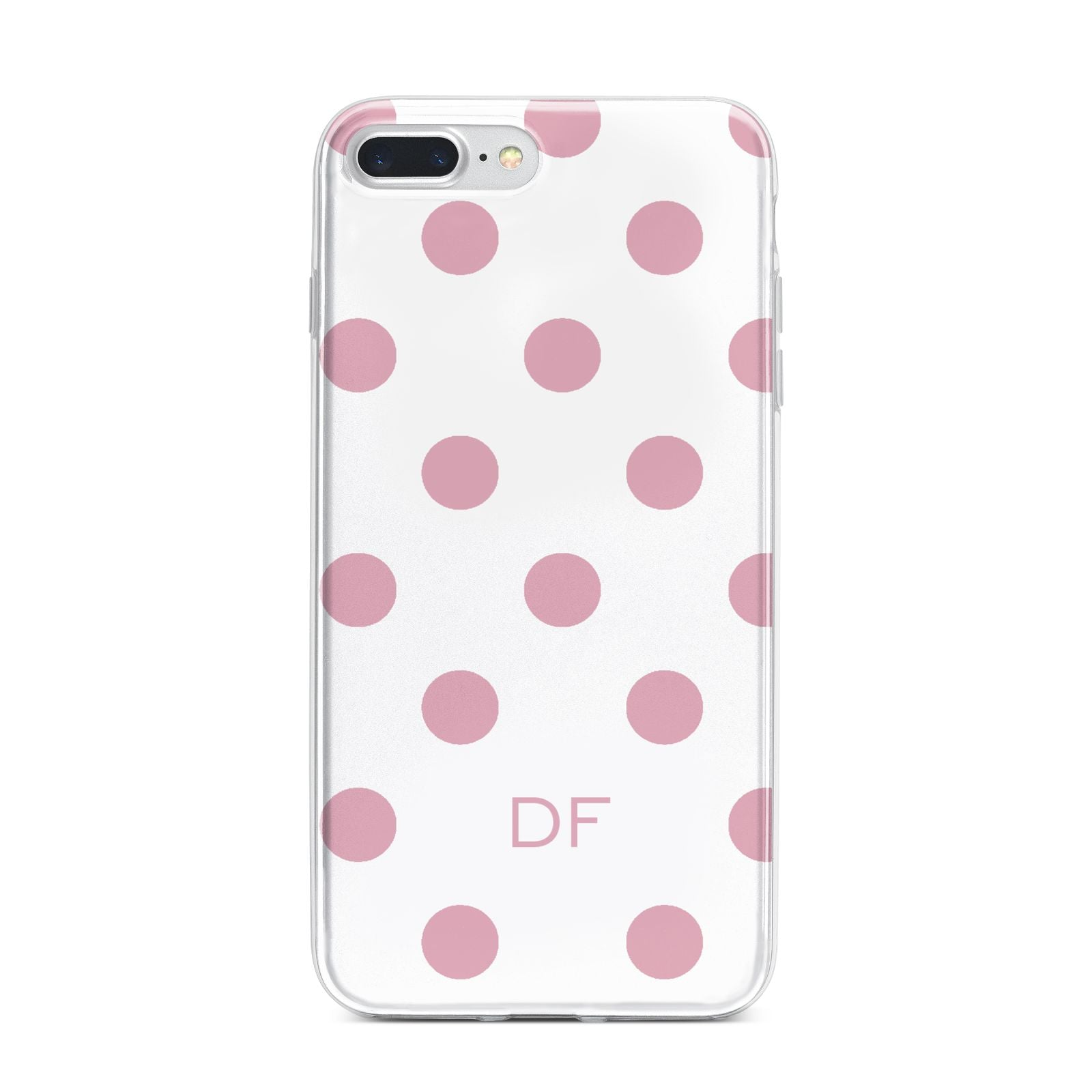Dots Initials Personalised iPhone 7 Plus Bumper Case on Silver iPhone