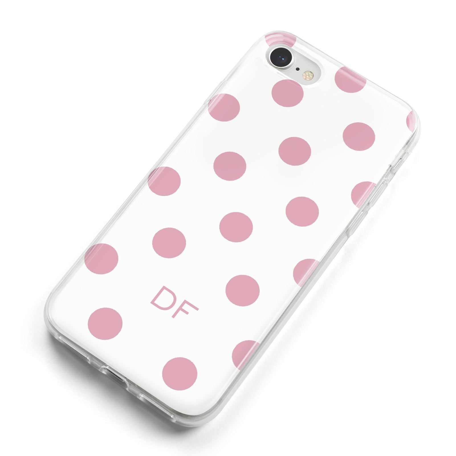 Dots Initials Personalised iPhone 8 Bumper Case on Silver iPhone Alternative Image